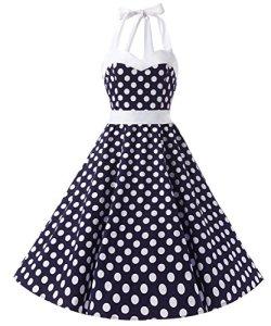 Dresstells Version3.0 Vintage 1950's Audrey Hepburn pin-up robe de soirée cocktail, style halter années 50 à pois, Bleu Foncé-Blanc M