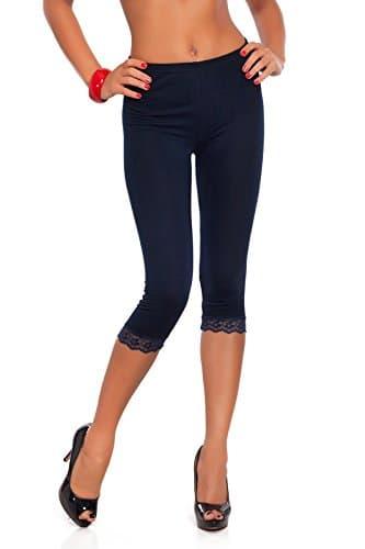 futuro fashion court 3/4 longueur Leggings coton avec dentelle tous coloris & TOUTES LES TAILLES – Bleu marine, EU 48/50