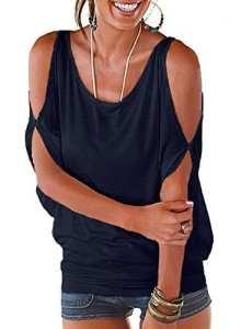 Imixcity Femme Chic Été Manches Ouvertes Lâche Chemisiers Batwing Haut Blouse T-shirt avec Dos Shirt À Lacets (3XL: 46/48, A_bleu Foncé)