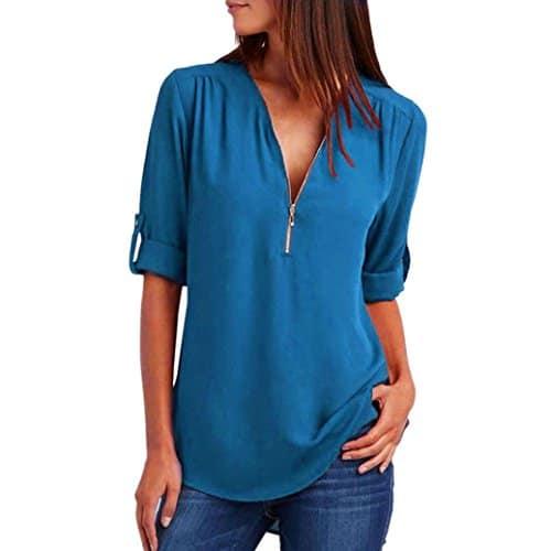 ❤️Mode Femmes Casual Tops T-Shirt Lâche Haut à Manches Longues Blouse Tefamore (S, Bleu Clair)