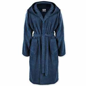 Peignoir avec capuche pour hommes & femmes Gräfenstayn S–XXXL en 100% coton en différentes couleurs–Certifié Öko-Tex standard 100 – Bleu – XX-Large