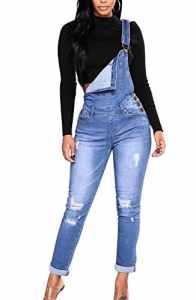 Runyue Femme Denim Jeans Salopette Boyfriend Élastique Combinaison Denim Slim Jumpsuit Pantalon Bleu M