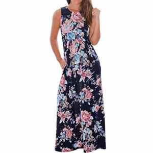 Tonsee Femmes V Neck Boho Long Maxi soirée Beach Party Robe florale Sundress (M, Marine)