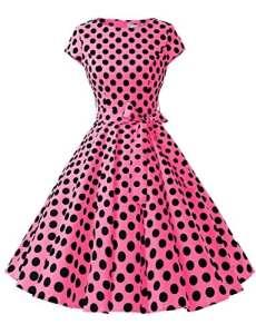 Dressystar DS1956 Robe à 'Audrey Hepburn' Classique Vintage 50's 60's Style à Mancheron Fuchsia à Pois Noir B S