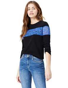 FIND Sweat-Shirt avec Dentelle Femme, Noir (Black), 40 (Taille Fabricant: Medium)