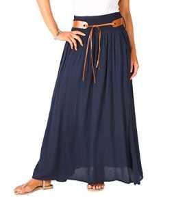 KRISP 4809-NVY-ML: Maxi Summer Skirt avec Poches