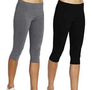 Leggings Court Femme Sport Pantalons Noir+Gris 3/4 Tights Capri Yoga Gym,M