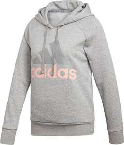 adidas ESS Lin Oh HD Sweat-Shirt, Femme S Gris Moyen Chiné/Corail (Medium Heather/Haze Coral s17)
