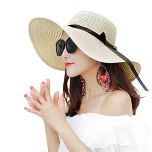 Chapeau de Paille Femme Chapeau de Soleil Chapeau de Plage Soleil Visière Casquette Protection UV