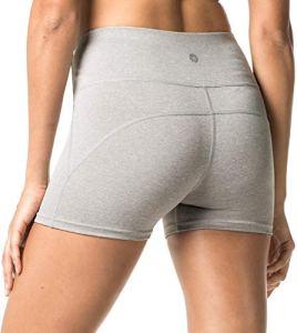 LAPASA Short Sport Femme Yoga Fitness Running Gym Élastique Stretch Gaine Large L09 (40/L (Tour de Taille : 68-78 cm), Gris chiné)