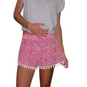 Malloom® Polka Dot Femmes Shorts Taille Haute Tassel Eté Casual Pantalons Courts Nouveau (XL, Pink)