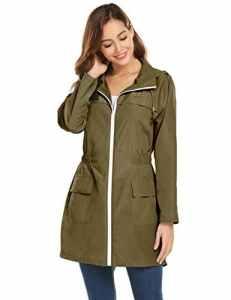 zhenwei Veste ImperméAble Capuche Femme Coupe-Vent Zippé LéGèRe Confortable (Large, imperméable Vert)
