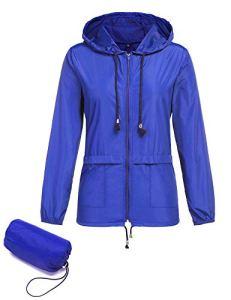 ZHENWEI Veste Pluie Femme Impermeable Legere Manteau Respirant Manche Longue Mince Vêtements avec Capuche (Large, Bleu Veste Impermeable)