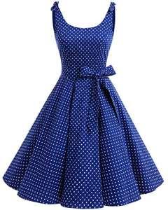 Bbonlinedress Vintage rétro 1950's Audrey Hepburn robe de soirée cocktail année 50 Rockabilly,Pois Bleu Saphir M