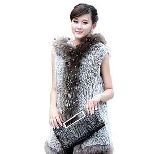 Fur Story 15272 Femme Tiss¨¦ Long V¨¦Ritable Fourrure de Lapin Gilet Gris Naturel EU 44