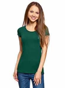 oodji Ultra Femme T-Shirt Basique Ajusté sans Étiquette (Lot de 2), Vert, FR 36 / XS