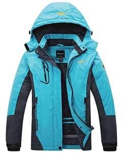 Wantdo Femme Anorak Veste de Ski avec Polaire Coupe-Pluie Coupe-Vent Imperméable Hiver Bleu Small