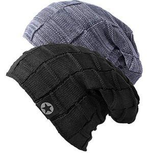 2X Bonnet Chapeau Femme Homme Hiver Chaud Tricoté Epais Classique Multicolore