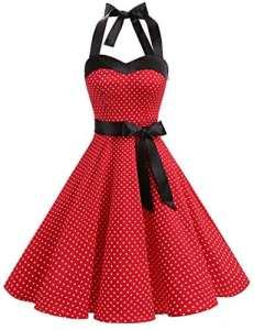 Dresstells, Version3.0 Vintage 1950's Audrey Hepburn pin-up Robe de soirée Cocktail, Style Halter années 50 à Pois, Rouge M