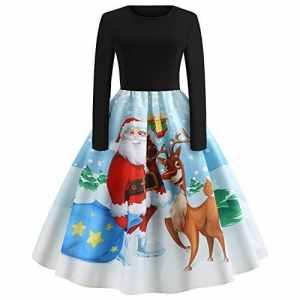Femmes Robes Halloween Citrouille Noël Imprimé Vintage Manches Longues A – Ligne avec Ceinture Vêtements Deguisement Halloween Noël Femme Robe de Cocktail (S – 2XL, 11 Styles) (Style P, XL)