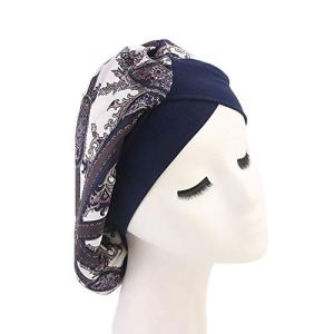 Leisial Chapeau pour Femme Bonnet de Nuit Sommeil Polyester Protéger Les Cheveux Élastique (Bleu Foncé)
