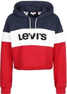Levis Raw Cut CB Crop Hoodie Colorblock S