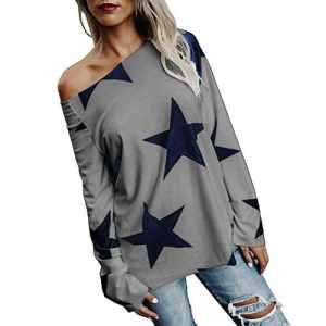 Lonshell Femme Sweatshirt Imprimées Sweatshirt Pull Tops Blouse Shirt