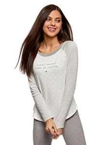 oodji Ultra Femme T-Shirt Imprimé à Manches Longues, Blanc, FR 36 / XS