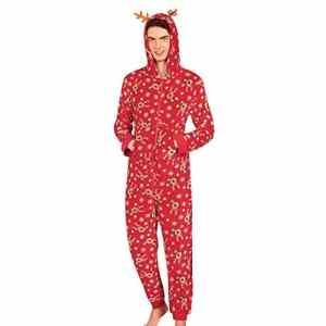 Rovinci 2018 L'automne Hiver Pyjamas de Famille Mode Femmes Hommes Enfant Renne Impression Combi-Pantalon à Capuche Fermeture éclair Vêtements de Nuit Tenue de Noël