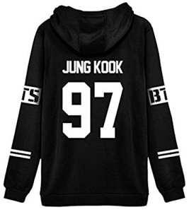 ShallGood Femme Automne Mode BTS Fans Sweats à Capuche à Manches Longues Varsity Rayé Encapuchonné Sweatshirt Décontractée Hooded Chemisiers Tops JUNG KOOK-97 Blanc FR 40