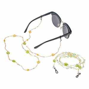 Soleebee 2 Pièces Corde Chaîne Attache pour Lunettes Porte-Lunettes avec Perles en Cristal Artificielle