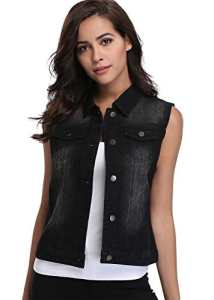 Veste en Jean Vest Femme Noir Denim Jacket Women Black Gilet Classique Poches Western Chest Turn Collar sans Manches – XS