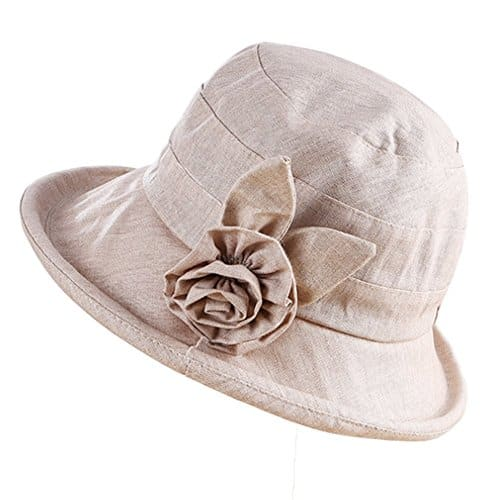 MSYOU Chapeau en coton avec motif de feuilles mignonnes pour l/ét/é et le soleil pliable pour les femmes et les filles jaune