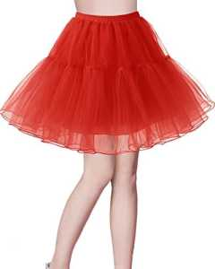 Bridesmay Jupon Tutu Petticoat Femme Vintage années 50 Rockabilly Couleurs variées Red L