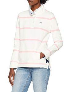 Crew Clothing Pastow Pique Sweat, Shirt Femme, Blanc (WHITEPINK 1160231), 40