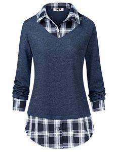 DJT Femme T-Shirt a Carreaux 2 en 1 Manches Longues Pull Pull-Over Tunique Classique Automne Bleu L