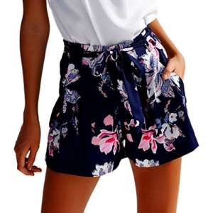 Familizo Shorts d'impression de Mode des Femmes, Pantalon de Plage Taille Haute D'été (Small, Multicolore)