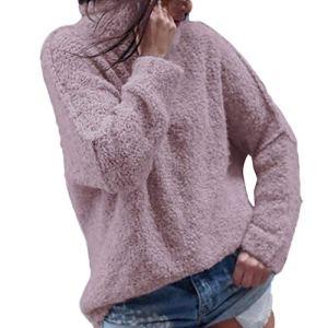 Femmes 2018 EUZeo Automne Hiver Femmes Mode Décontractée L'automne Manche Longue Plus Chaud Peluche Col roulé T-Shirts Tops Chemisier