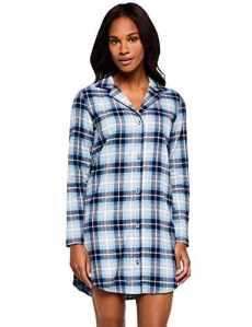 Iris & Lilly Flannel Check Haut De Pyjama, Bleu Blue, Large