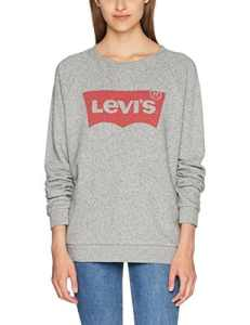 Levi's Relaxed Graphic Crew – Sweat – Femme – Gris (Fleece Batwing Smokestack Htr 0) – Small