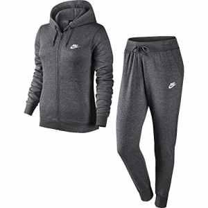 Nike NSW W TRK Suit Survêtement FLC, Femme S Multicolore – Gris Anthracite chiné/Blanc