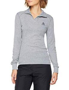 Odlo T- Shirt ML 1/2 Zip Active Warm Originals Manches Longues Femme, Mélange Gris, FR : M (Taille Fabricant : M)