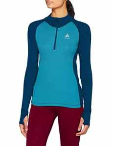 Odlo T- Shirt ML 1/2 Zip Active Warm REVELSTOKE Manches Longues Femme, Poseidon/Turkish Tile, FR : S (Taille Fabricant : S)