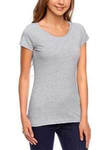 oodji Ultra Femme T-Shirt Basique en Coton, Gris, FR 38 / S