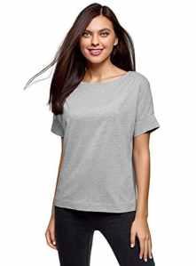 oodji Ultra Femme T-Shirt Basique en Coton, Gris, FR 44 / XL