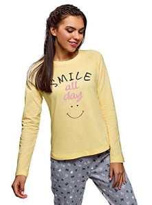 oodji Ultra Femme T-Shirt d'Intérieur Manches Raglan Imprimé sur la Poitrine, Jaune, FR 42 / L