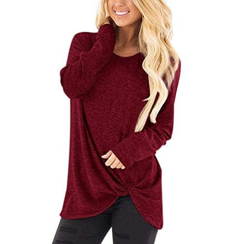 Sweat Femme 2018 EUZeo Printemps Automne Hiver Les Femmes La Mode en Vrac O-Neck Couleur Unie Tordu Manches Longues Décontracté T-Shirt