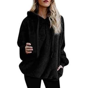 Sweats à Capuche Femme 2018 EUZeo Automne Hiver Femmes Mode Manteau à Manches Longues Décontractée Fermeture éclair Les Poches Laine Chaude d'hiver Manteau en Coton Massif Sweat Polaire Double Face