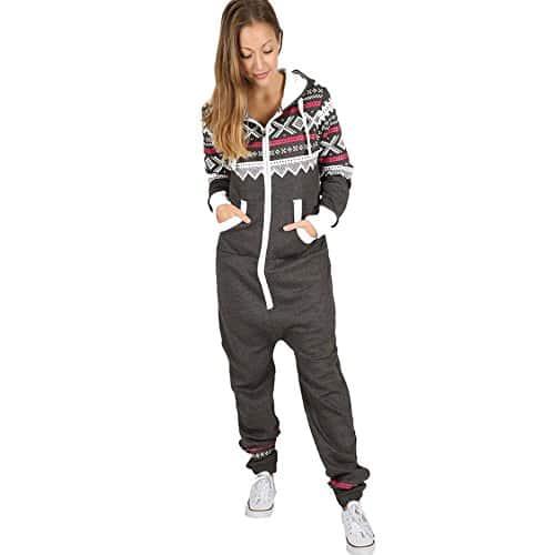 Trends Fashions – Grenouillère – Manches Longues – Femme * – Gris – XXL