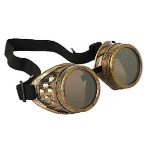 Ultra New Gold avec Lentilles Brun Clair Premium Top qualité Steampunk Lunettes Cyber Lunettes Victorian Style Punk Welding Cosplay Dans un style Gothique Goth Rustique Vintage Cuivre Rave